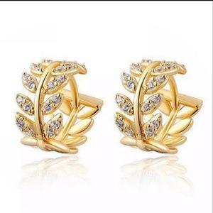 Tiny Huggie Leaf Crystal Hoop Earrings